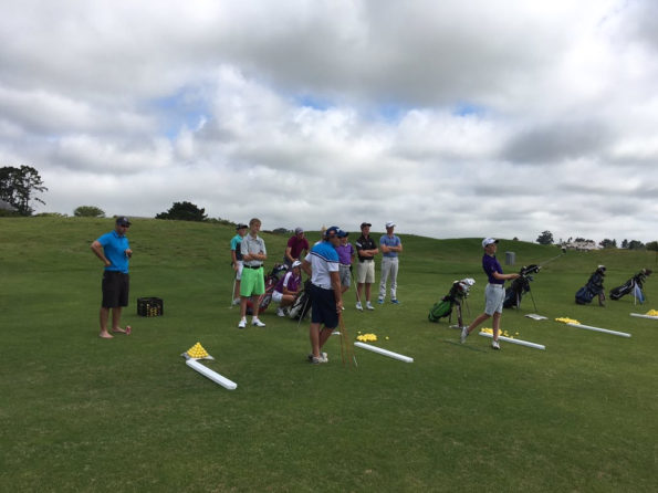 Peter Berman (black shorts and blue shirt far left) oversees the coaches from his Scratch Golf Academy as they work with some of the talented golfers around the Knysna area. Credit: Peter Berman
