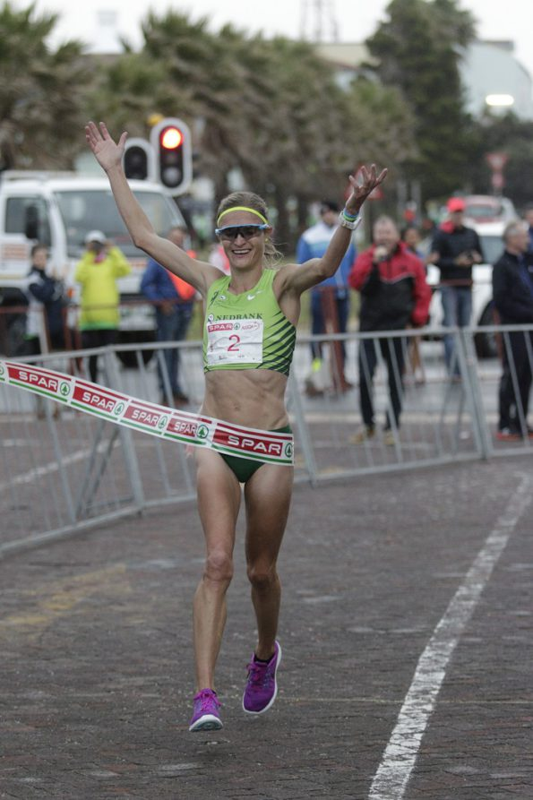 Irvette van Zyl wins the 10km race at the SPAR Women's Challenge in Port Elizabeth on Saturday. Photo: Wayne Webb