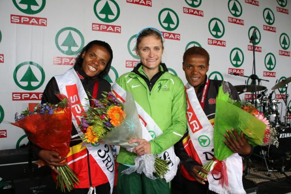 The podium finishers in the 10km race at the SPAR Women's Challenge in Port Elizabeth on Saturday were, from left, Diana-Lebo Phalula (third), Irvette van Zyl (first) and Lebogang Phalula (second). Photo: Leon Hugo