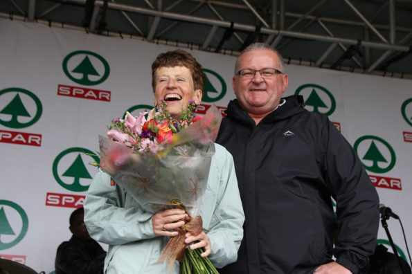 Sonja Laxton (left), who completed her 90th SPAR Women's Challenge race and 21st one in Port Elizabeth on Saturday, with SPAR marketing director Abri Swart. Photo: Leon Hugo