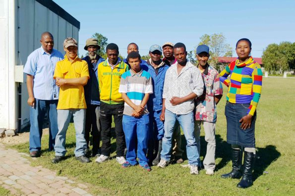 Employees of  dairy farms in Karatara who participated in the Workshop, with Eden District Municipality's Environmental Health Practitioner, Mr Mthetho Sithonga (far left,) who facilitated the Workshop activities
