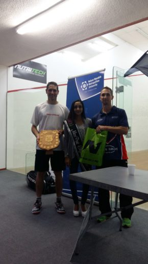Cape Town's Gary Wheadon (left) won his fifth Madibaz Open squash title at the weekend. With him are Miss Port Elizabeth Nureen Hoosein, also an NMMU squash player, and tournament director Jason le Roux. Photo: Supplied