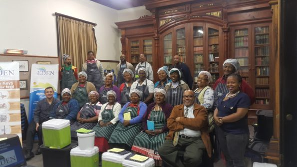 Informal Food Traders who participated in the training with the Eden District EHPs. With them are (front, far left) Mr Johan Compion and (front, far right) Cllr Henry McCombi