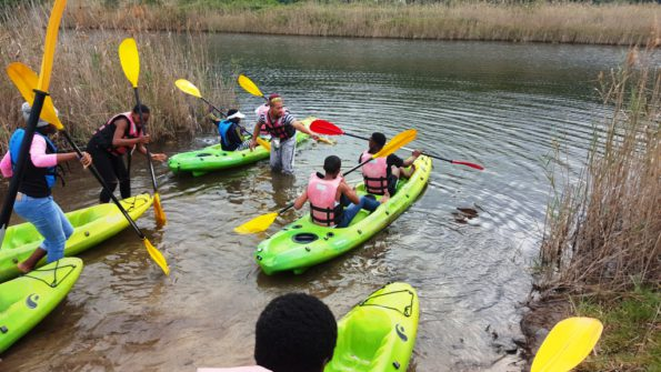 "The learners enjoyed ""Paddling out for Sharks"" with Mr Muneer Moses (middle) from SANParks"