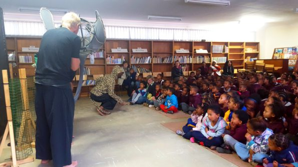 The Lunchbox theatre group conveys conservation messages regarding species protection to the learners from Herbertsdale Primary School, during the Biodiversity theatre show