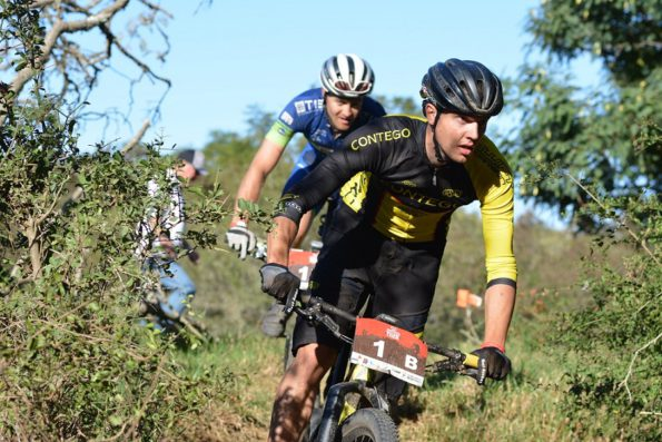 Adriaan Louw leads TIB Insurance-Contego team-mate Andrew Hill on the third and final stage of the 2016 PwC Great Zuurberg Trek. Photo: Full Stop Communications