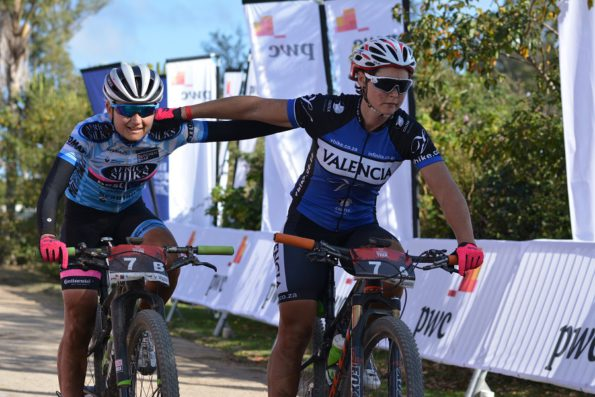 Anriette Schoeman (left) and Samantha Sanders of Africa Silks-Valencia win the women's section of the 2016 PwC Great Zuurberg Trek. Photo: Full Stop Communications