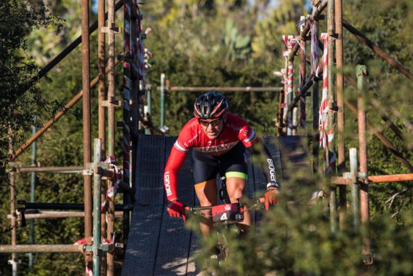 Cycle Lab's Joel Stransky clears an obstacle during the third and final stage of the PwC Great Zuurberg Trek. Photo: Warren Elsom