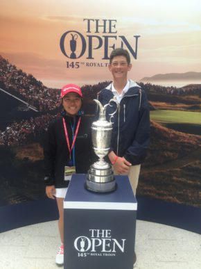 Woo-Ju Son and Christo Lamprecht with the Claret Jug at the 2016 Junior Open; credit SAGA