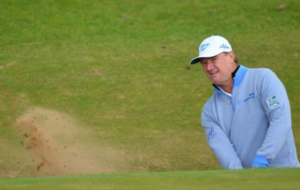 South Africa's Ernie Els plays from a green-side bunker on the 8th hole during practice on July 12, 2016, ahead of the 2016 British Open Golf Championship at Royal Troon in Scotland. The 2016 British Open begins on July 14, 2016.  Image by: GLYN KIRK / AFP