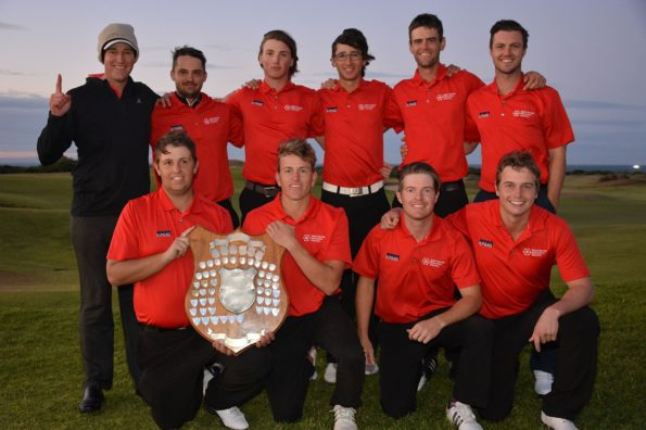 The KPMG NMMU-Madibaz A and B teams that captured the matchplay titles at the USSA golf tournament are, back from left, Brendon Timm (manager), Johan Coetzer, Wihan Kleyn, Jacques Smith, Luke Jerling, Mike Usendorff and, front from left, Colin Baldie, Hando Brophy, Steve Dent and Michael Maybery. Photo: Karl du Preez