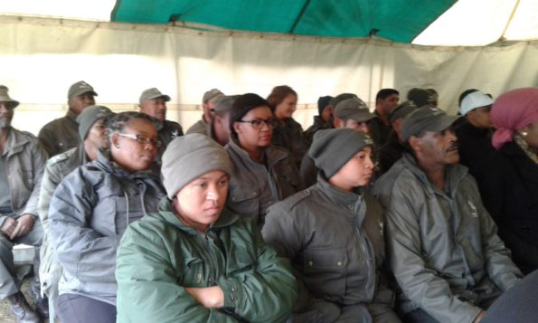 Rangers from 3 sections of the GRNP (Wilderness, Knysna and Tsitsikamma) listening attentively to Paddy Gordon, new Park Manager for the GRNP