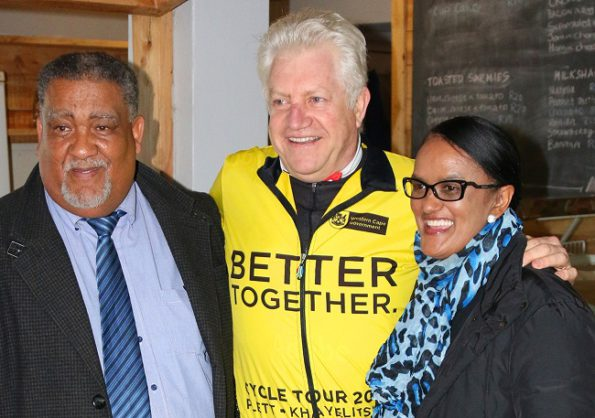 Leaders shortly prior to the opening of the  Cross Cape Cycling Trail, (fltr): Cllr Wessie Van der Westhuizen (Eden DM Executive Mayor), Mr Alan Winde (Western Cape Minister of Economic Opportunities) and Cllr Georlene Wolmarans (Knysna Executive Mayor)