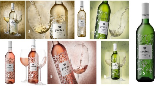 1 – 3 :Protea Pinot Grigio 2016 4 – 6 :Protea Sauvignon Blanc 2016 7 -9 :Protea Rosé 2016