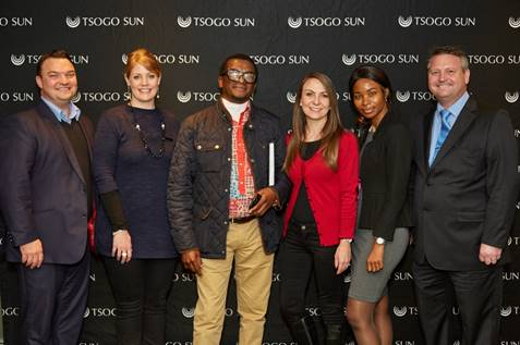 Jacques Moolman (General Manager, Southern Sun Cape Sun), Hayley Moore (Tsogo Sun), Sakhele Ndabeni (owner of Art2Art Afrika), Candy Tothill (GM of Corporate Affairs, Tsogo Sun), Emmah Makatu (owner of Zwinoni Lodge and Tsogo Sun Entrepreneur of the Year / Guesthouse of the Year 2013) and Darren Hailstones (Southern Sun Cape Sun)