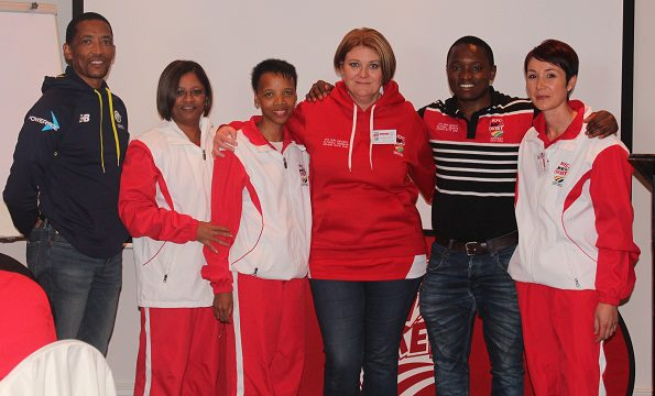 David Makopanele (Manager Mass Participation CSA), Margie Claassen, Felicity Damons, Erica Kennedy, Brian Radebe (Playmakers) and Margot Vermaak
