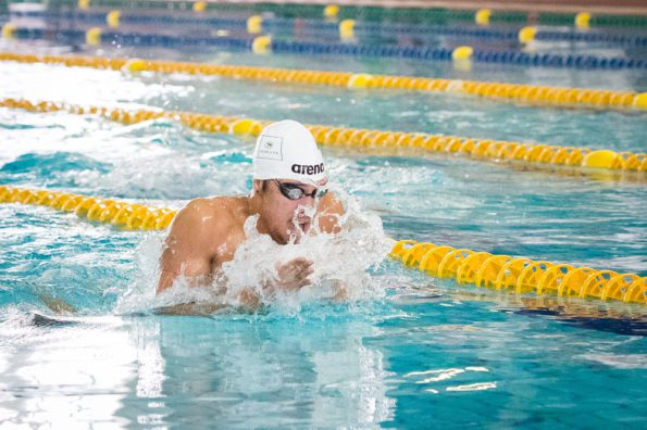 Alaric Basson powers his way to victory in the 50m breaststroke event at the Nedbank Madibaz gala at the Newton Park pool in Port Elizabeth at the weekend. Photo: Supplied