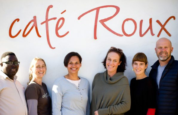 Café Rou crew: FROM LEFT TO RIGHT: Deo Rwagasore, Erin Green, Chantal Fish, Lindi Green, Bern Le Roux, & Paul Le Roux