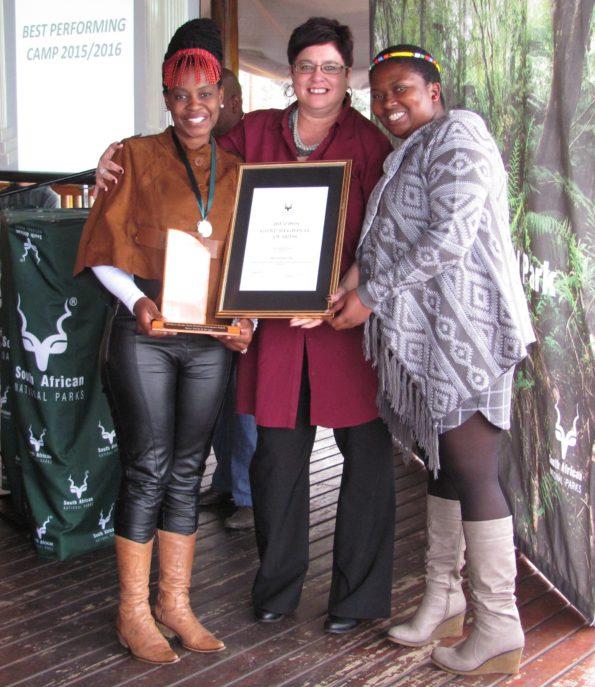 Tsitsikamma winners (L-R), Thuthula Fobosi (Hospitality), Ms Jill Bunding-Venter and new Area Manager for Tsitsikamma –Bulelwa Msengi