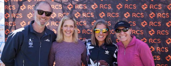 Solo female top 3 of SOX Lite, Elana Meyer (overall winner), Amanda Cloete & Marieke Coetzer with Karl Westvig