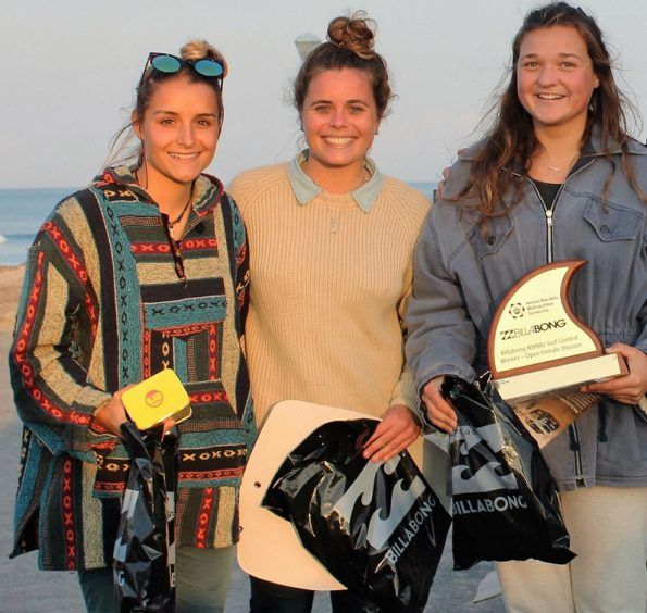The top three surfers in the open womens section