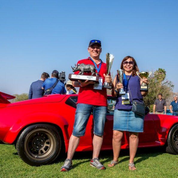 Overall winners: Fatima de Abreu and her husband, Carlos, with their  De Tomaso Pantera. Picture: Pure Photographic Studio, Durban