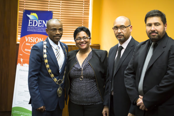 Top three Eden DM political office bearers appearing with the Accounting Officer, Mr Godfrey Louw, (fltr) are: Cllr Memory Booysen, Executive Mayor; Cllr Rosina Ruiters, Executive Deputy Mayor, Mr Godfrey Louw, Municipal Manager and Cllr Mark Willemse, Speaker