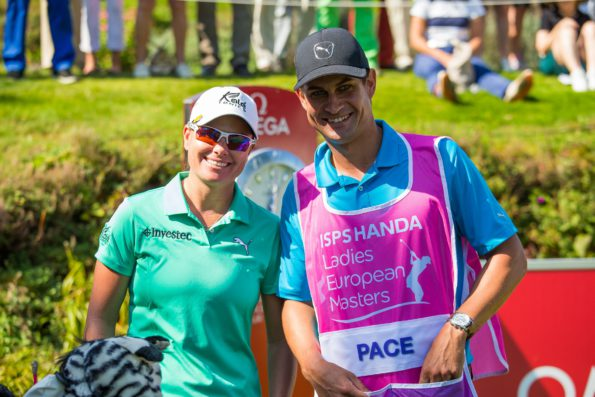 Lee-Anne Pace and her SA caddie Johan Swanepoel on day one of the ISPS HANDA Ladies European Masters; credit LET/Tristan Jones