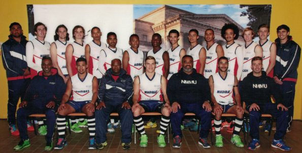 The Mecer NMMU-Madibaz men's squad which won the Eastern Province premier league hockey title are, back from left, Muzammil Sheik, Kevin Carroll, Alex Penhall, Michael Hansel, Wade Witbooi, Cerezo Comerasamy, Kirwin Christoffels, Pambili Gada, Dillan Langeveld, Sarvesh Naidoo, Ignatius Malgraff, Curtis Samboer, Devon Clarke, Royden Brown, Chad Durrheim and, front from left, Runeshan Moodley, Chad Cairncross (vice captain), Ellwishes Cloete, Grant Kapp (captain), Cheslyn Gie, Joshua August and Wade Golightly. Photo: Supplied
