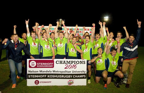 The Harlequins rugby team celebrate their win in the Steinhoff NMMU Koshuis league final last week. Photo: Richard Huggard