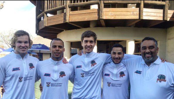 The NMMU-Madibaz members of the Addo Elephants team in the Premier Hockey League were, from left, Devon Clarke, Ignatius Malgraff, Chad Durrheim, Joshua August and coach Cheslyn Gie. Photo: Supplied