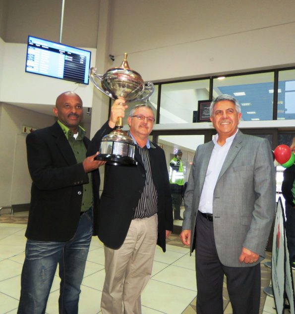 From left are Cllr David Willemse, Portfolio Councillor for Strategic Services, George Municipality, Dr Willie Cilliers, Chairman of the George Business Chamber and Cllr Gerrit Pretorius, Executive Deputy Mayor of George