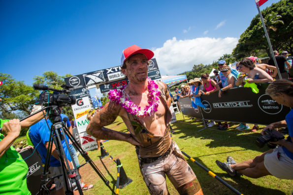 Weiss as he crossed the finish line.  Photo Credit:  Jesse Peters XTERRA