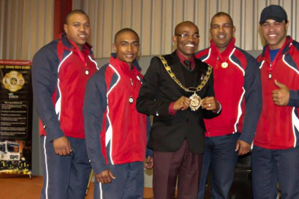 Eden DM Executive Mayor, Cllr Memory Booysen with the winning Relay Team and Mr Wayne Young, from Florian Emergency Solutions,  who sponsored the award.  Fltr: Mr Wayne Young, Mr Lusiano James, Mr Hein Leslie, Cllr Memory Booysen, Mr Branwill Abrahams and Mr Emile Conrad
