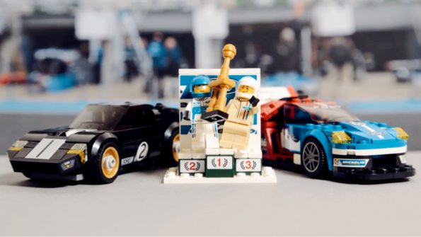 Podium win: The Ford GT40 and the new Ford GT that won in 2016. Picture: Quickpic