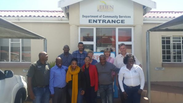 During the visit were (in no particular order): T. Hlanyane, S. Maruleka, N. Mpho, M. Mahlalela, K. Chetty (Facilitator- SA Weather Service), N. Potwana, E. Msatshe, B. Gericke, T Godobedzla and Dr Johann Schoeman (back, right) from the Eden DM Air Quality