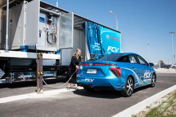 Fill er up: Toyota Australia unveils mobile hydrogen refueller. Picture: Quickpic