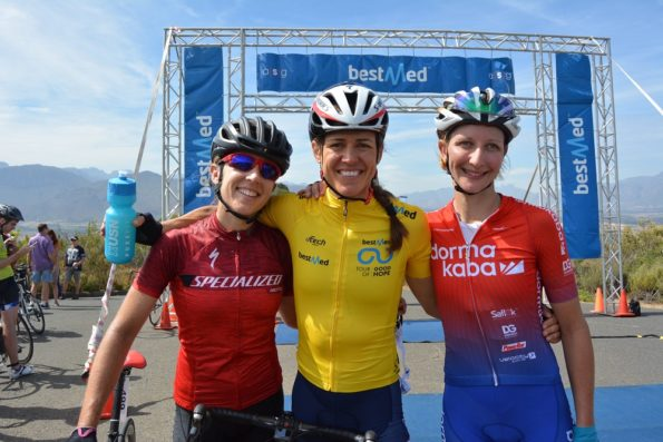 Ariane Luthi (centre) won the overall women's title after the 82km final stage of the Bestmed Tour of Good Hope, presented by Scicon and the City of Drakenstein, which ended at the Taal Monument near Paarl in the Cape Winelands today. With her are Lucy James (left, third) and Carmen Buchacher (second). Photo: Full Stop Communications