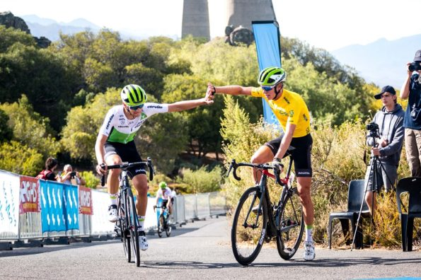 DiData riders Matteo Sobrero (left) and Stefan de Bod celebrate their win on the 82km final stage of the Bestmed Tour of Good Hope, presented by Scicon and the City of Drakenstein, which ended at the Taal Monument near Paarl in the Cape Winelands today. Photo: Robert Ward