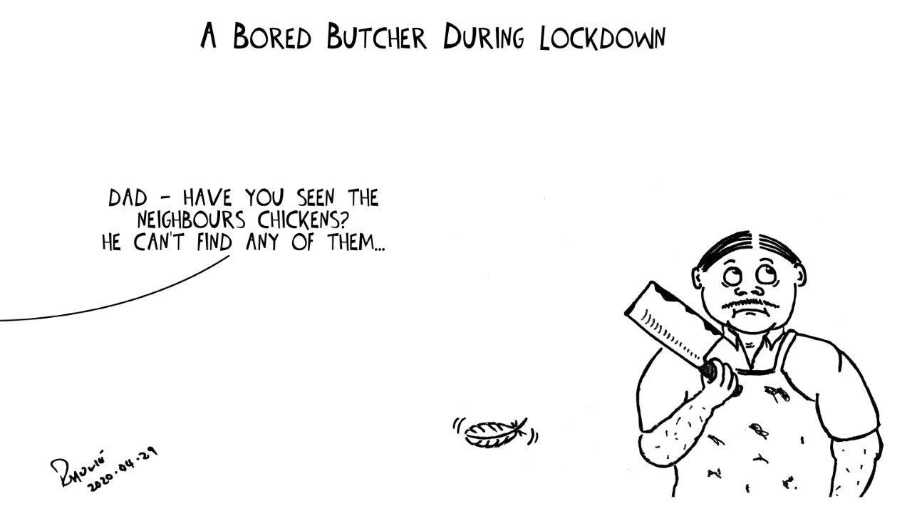 Cartoon - Shutdown Day 34: A Bored Butcher